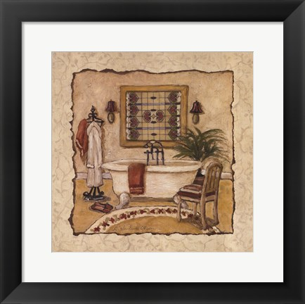 Framed Art Deco Bath II Print