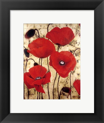 Framed Poppies I Print