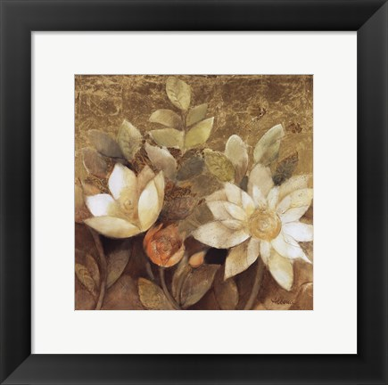 Framed Gilded Waterlilies II Print