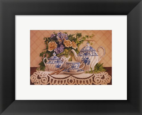 Framed Tea And Lace I Print