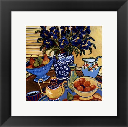 Framed Blue And White With Oranges Print