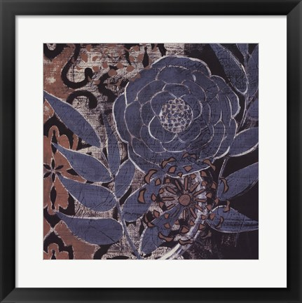 Framed Denim Rose II Print