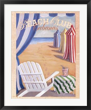 Framed Beach Club Cabanas Print