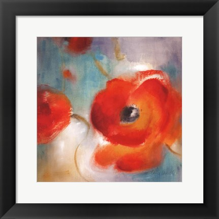 Framed Scarlet Poppies In Bloom II Print