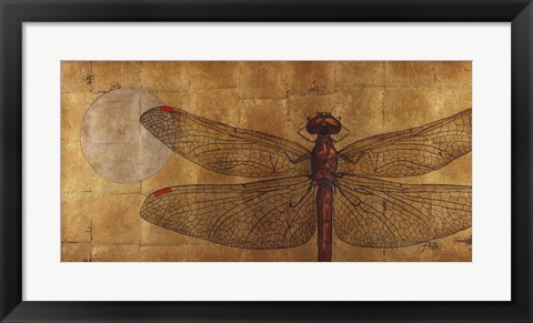 Framed Dragonfly On Gold Print