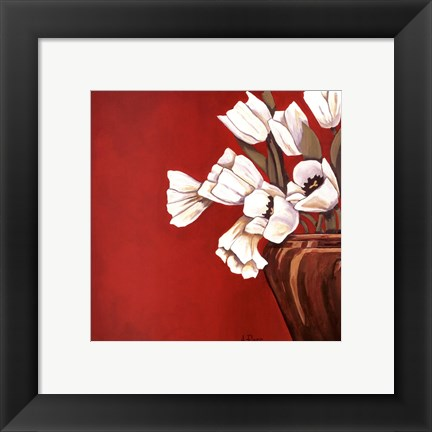 Framed Tulips on Red Print