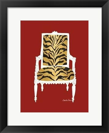 Framed Tiger Chair On Red Print