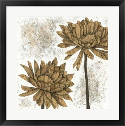 Framed White Washed Dahlias II Print