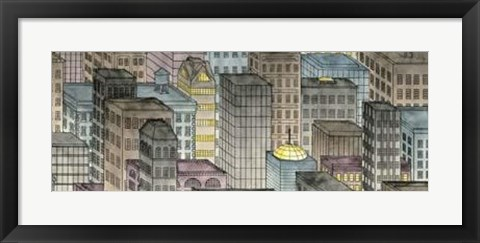 Framed City By Night II Print