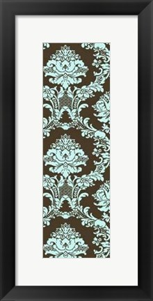 Framed Small Vivid Damask In Blue I Print