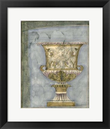 Framed Small Urn And Damask I Print