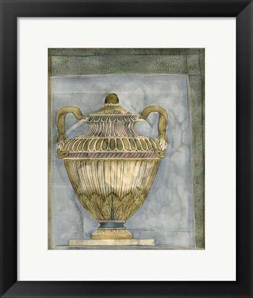 Framed Small Urn And Damask III Print