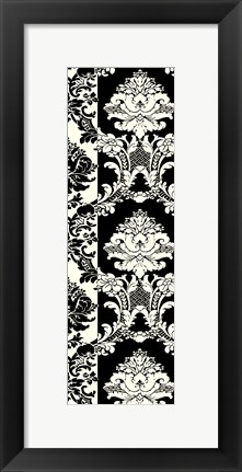 Framed Damask In Black And Cream II Print