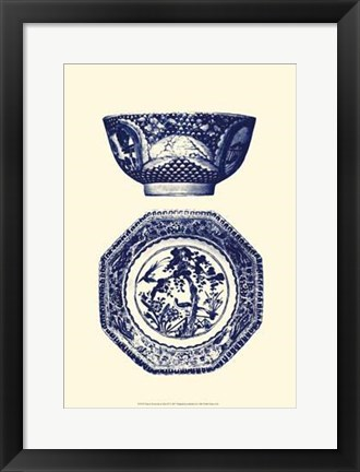 Framed Manor Porcelain In Blue II Print