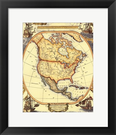 Framed Small Nautical Map Of North America Print