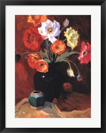Framed Poppies in Black Vase Print