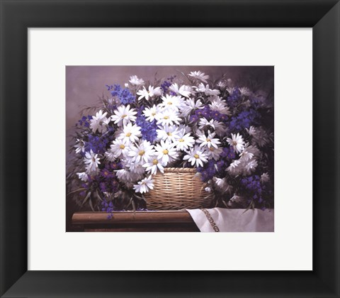 Framed Daisies and Delphiniums Print