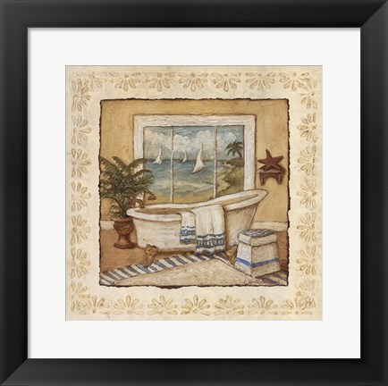 Framed Ocean View Bath I Print