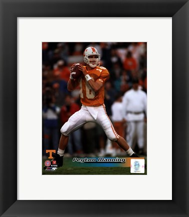 Framed Peyton Manning University of Tennessee Volunteers Action Print