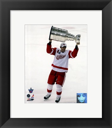 Framed Pavel Datsyuk with the Stanley Cup, Game 6 of the 2008 NHL Stanley Cup Finals; #29 Print