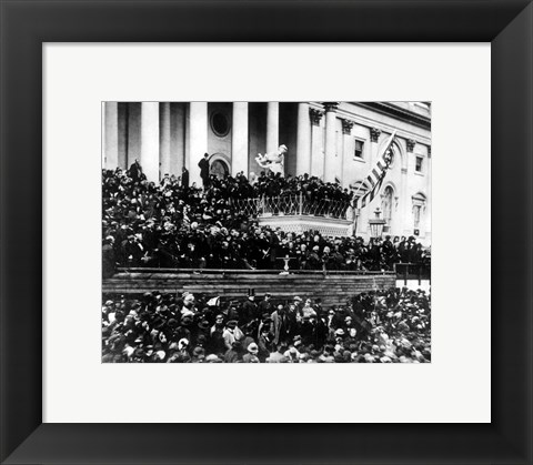 Framed President Abraham Lincoln gives his inaugural speech during his second inauguration on March 4th 1865 Print