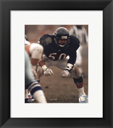 Framed Mike Singletary Defensive Stance Print