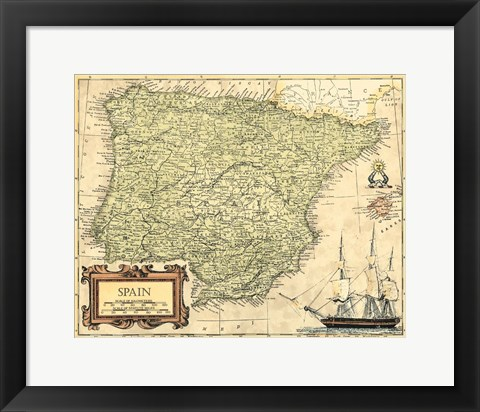 Framed Spain Map Print