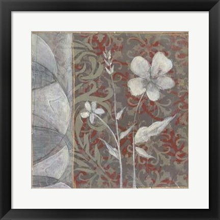 Framed Taupe and Cinnabar Tapestry IV Print