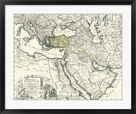 Framed Map of Europe, Asia and Africa Print