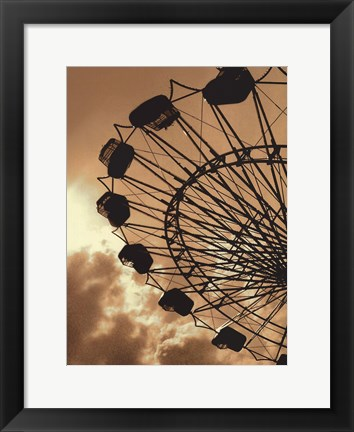 Framed Ferris Wheel - contrast black & white Print