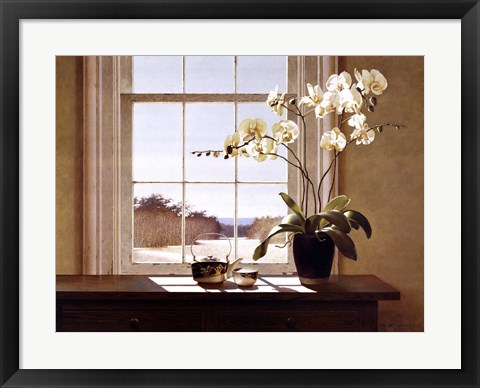 Framed Orchids with Teapots Print