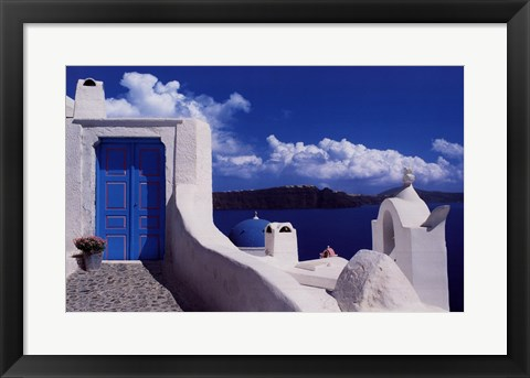 Framed White with Blue Dome Print