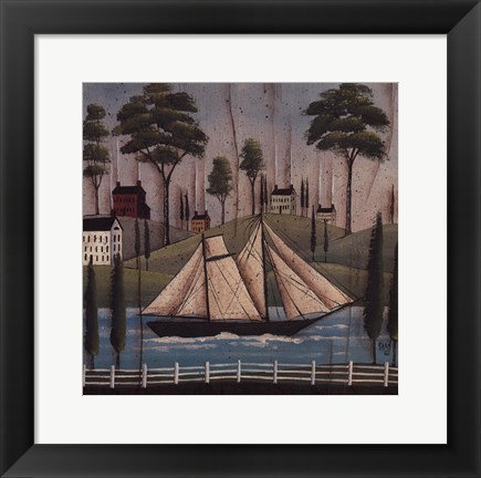 Framed Seaside Village Print