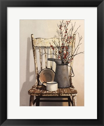 Framed Watering Can on Chair Print