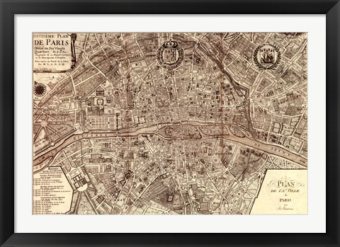 Framed Plan de la Ville de Paris, 1715 Print