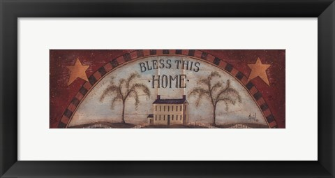 Framed Bless This Home - with stars Print
