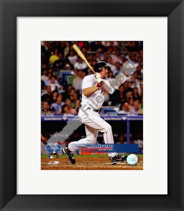 Framed J.D. Drew 2008 All-Star Game with MVP Trophy With Overlay Print