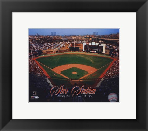 Framed Opening Day of Shea Stadium April 17, 1964 With Overlay Print
