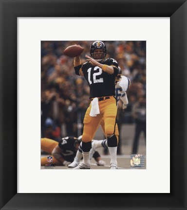 Framed Terry Bradshaw Passing Action Print