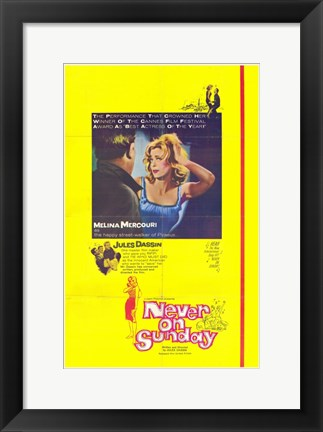 Framed Never on Sunday Melina Mercouri Print