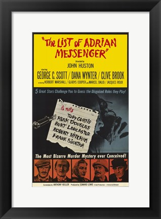 Framed List of Adrian Messenger Print