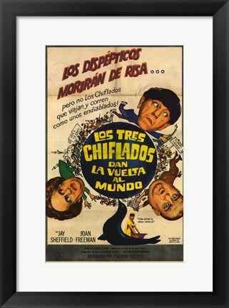 Framed Three Stooges Go Around the World in a Daze Print