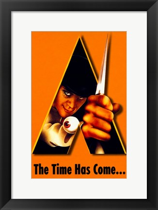 Framed Clockwork Orange Bright Orange Background Print