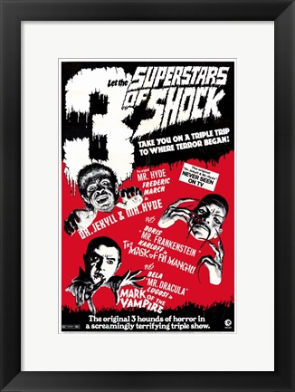 Framed 3 Superstars of Shock Print