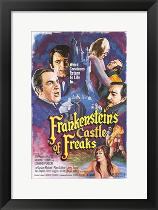 Framed Frankenstein's Castle of Freaks Print