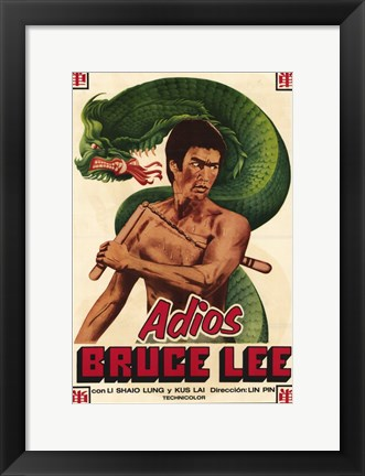 Framed Adios Bruce Lee Print