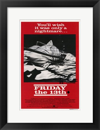 Framed Friday the 13th Black & Red Print