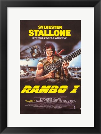 Framed Rambo I: First Blood with Stallone Print
