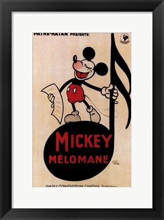 Framed Mickey Mouse - music note Print
