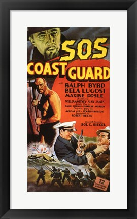 Framed S.O.S. Coast Guard Print